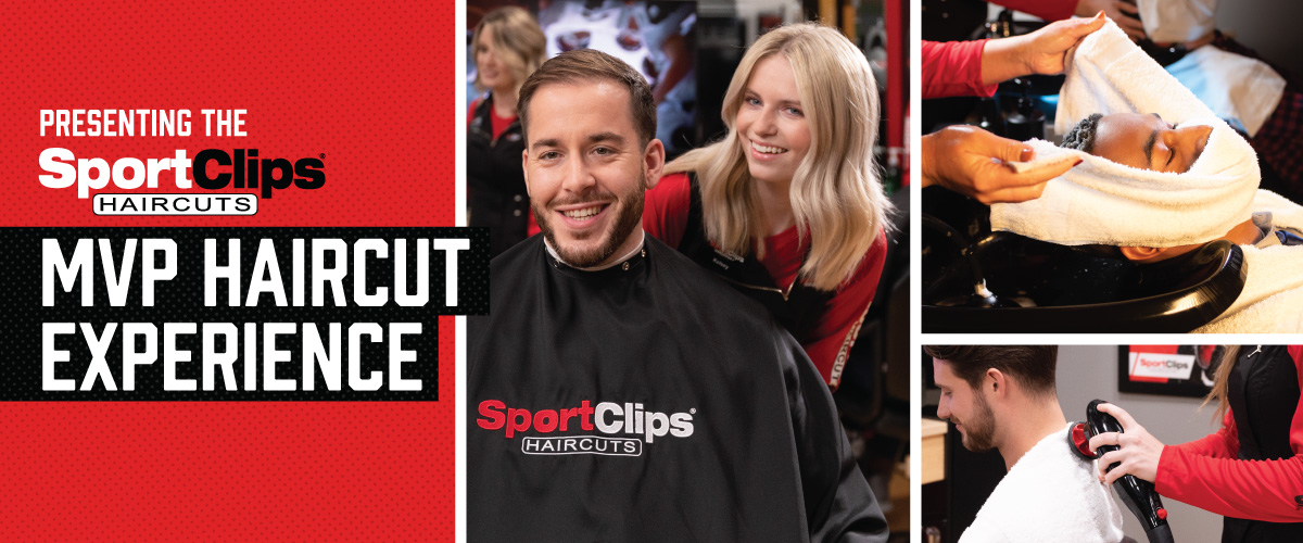 The Sport Clips Haircuts of Shops @ Montano & Coors MVP Haircut Experience with stylist giving a client a haircut, a hot towel placed on his face, and using a massager on a clients upper back